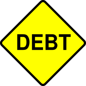 Debt caution sign